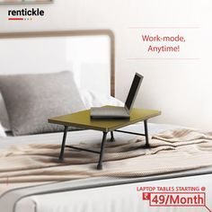 Create a work space that isn't limited to a desk and chair. Work from anywhere in your home with Laptop Tables designed to get stuff done. PS: It's a brilliant excuse to work from home, too! Thinking of Renting . Think of Rentickle! Laptop Table, Renting, Pune, Floor Chair, Home Furniture, Desk, Bedroom, Create