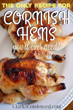 One of the best cornish game hen recipes you'll ever try - it's baked and roasted in the oven after being put in a great brine! This is a great family recipe that is super easy and flavorful.