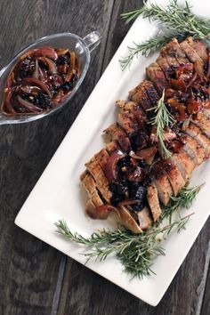Maple Pork Tenderloin with Rosemary Cherry Pan Sauce | My Life as a Mrs: Very good pork tenderloin. Our favorite is still the orange rosemary but we would make this one again!