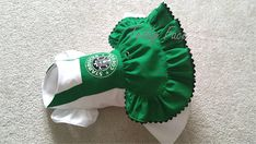 Description Practical and fashionable excellent quality made with attention to detail Limited edition. Starbucks inspired dress, velcro closure. Please note this is very strong velcro. Excellent Quality Dog clothes :) Teddy Face Items are tailored for small dog breeds & puppies.