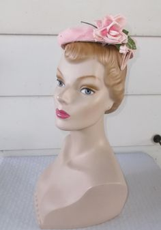1950s Vintage Pink Hat with Rose and Netting by MyVintageHatShop