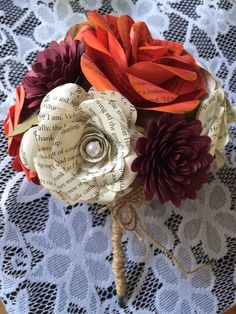 Fall paper flower bouquet with burlap for wedding, photos, home decor. Handmade paper flower bouquet in my Etsy shop $40.00. click link below to purchase. I love custom orders!!!