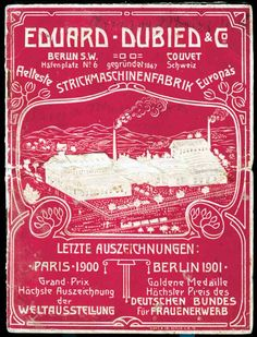 Catalog of the Swiss Knitting Machine Factory Eduard Dubied, Couvet, app. 1905.