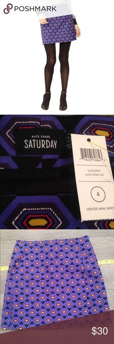 SATURDAY Mini Skirt SATURDAY Kate Spade mini skirt. Jazzy gems print. About 16.5 inches long. High-wasted. New with tags. Runs a size small in my opinion. kate spade Skirts Mini