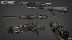 One of the weapons I made while I was an intern at dice. I Was also responsible for the concept and marketing renders. Rendered in Frostbite Engine. Star Wars Droiden, Star Wars Guns, Star Wars Ships, Disney Star Wars, Star Wars Concept Art, Weapon Concept Art, Armor Concept, Sci Fi Weapons, Fantasy Weapons