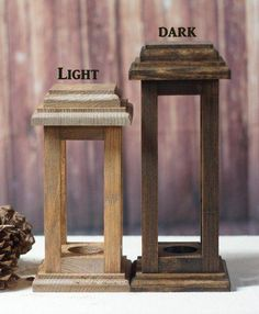 Set of TWO Rustic Lanterns. Choose Finish: Light Stain Dark Stain Choose Size: Lanterns - 10 x 5 Lanterns - 12 x 5 Lantern - 10 x 5 & Lantern 12 x 5 ***Total of 2 lanterns in each set*** The Tea-Light hole is approximately in diameter. This will fit Rustic Lanterns, Wedding Lanterns, Wedding Table Centerpieces, Candle Lanterns, Rustic Wedding Signs, Decor Wedding, Diy Wedding, Trendy Wedding, Rustic Thanksgiving
