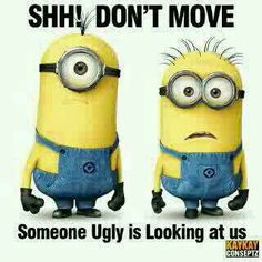 Shh!  Don't move... Someone ugly is looking at us. - minions