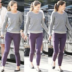 Purple Pants for Fall! <--just got me some of these too. I think I still have my gray sweater :) hopefully it fiiiits