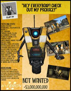 Hey, I found this really awesome Etsy listing at https://www.etsy.com/listing/277807496/borderlands-2-wanted-posters-cl4p-tp