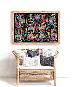 Mexican Folk Art Otomi Print Indians Extra Large Wall Printable Decor 24x36