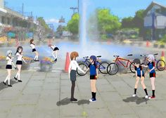 ComiPo - Schoolgirls Cycle Team in City Park  |  comipo, anime, manga, schoolgirls, girls, bicycle, team, racing, teacher, icecream, city, park, scene, fountain, water, summer, warm, flowers, play, enjoy, colors, uniform, fun