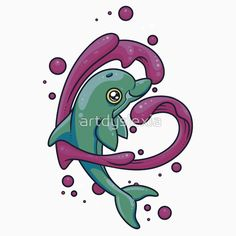 Dolphin Love by Artistic Dyslexia. artisticdyslexia.com Also available in Adult and Children's Apparel; Leggings; Prints, Posters and Cards; Stickers; iPhone, iPod, iPad and Samsung Cases; iPhone and iPad Skins; Throw Pillows; Mugs; Travel Mugs; Duvet Covers and Tote Bags!