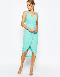 Image 1 ofTFNC Midi Dress With Embellished Shoulders & Wrap Skirt