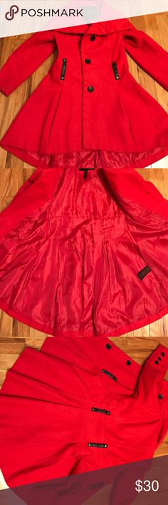 Red Coat Gorgeous red pea coat that was barely used! With a buttoned front and pleating on the front it completes any look while staying warm! Has pockets and cute buttons on the sleeves for added detail! Yoki Jackets & Coats Pea Coats
