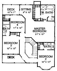 Floor Plans AFLFPW26548 - 2 Story Queen Anne Home with 4 Bedrooms, 3 Bathrooms and 2,752 total Square Feet