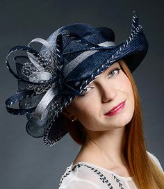 Navy+and+silver+grey+wide+brim+hat+for+weddings+by+MargeIilane