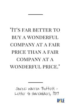 It is far better to buy a wonderful company at a fair price than a fair company at a wonderful price.  #warrenbuffett #warrenbuffettquotes #kurttasche