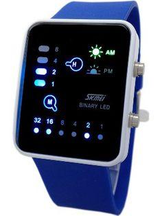 Technological Sense Binary Digital LED Decoration Waterproof Unisex Sports Wrist Watches Dark Blue ❤ IMALLIMALL