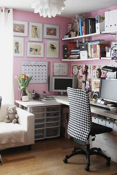 Pink walls in an office.