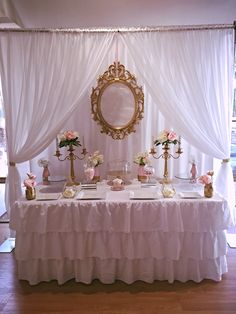 White, pink and gold buffet