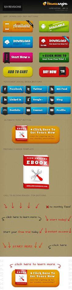 Super #Buttons,  #Free, #PSD, #Resource, #Social #Media, #UI