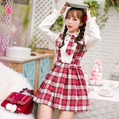 797acc4a0a7 Candy rain 2016 Spring autumn Women s Girls Lolita Kawaii Suspender Apron  Dress Princess Dolly Maid Dress Pink Purple Checks