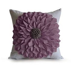 Amore Beaute Handmade Purple Felt Flower Pillow Cover White Cotton Pillow Case Floral Felt Throw Decorative Pillow Cover Dorm Decor inches * Click image for more details. White Pillow Cases, White Pillows, Accent Pillows, Coco Chanel No 5, Felt Flower Pillow, Diy Pouf, Dorm Pillows, Skull Pillow, Pillows