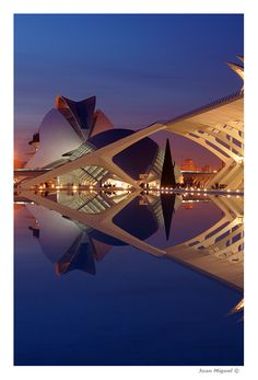 Reflejo nocturno en la CAC City of Arts and Sciences of Valencia, Spain by Photographer Juan Miguel Llopis Cervera Unique Buildings, Interesting Buildings, Architecture Old, Amazing Architecture, Places To Travel, Places To See, Wonderful Places, Beautiful Places, Monuments