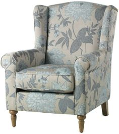 Alec Navy Blue Trellis Wing Chair | Navy, Living rooms and Room