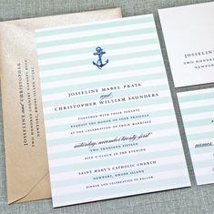 Josseline Nautical Wedding Invitation with Navy Anchor and Aqua Ombre Stripes