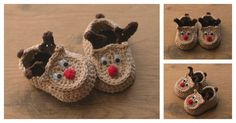 ThisReindeer Baby Booties Free Crochet Pattern will make such a cute gift for a baby's first Christmas! They are very comfortable to wear.
