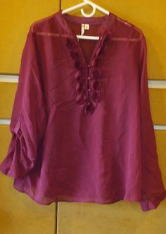 LAUREN CONRAD - Two Piece Poly Sheer Rose Buds Maroon Top Blouse Size XL…