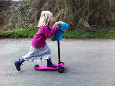 Hobbyheadz: A Fun and Furry, Kids Toy Scooter Accessory by Kate Mills, via Kickstarter.  Great idea but you could totally make a homespun version with your child - might even be more fun.