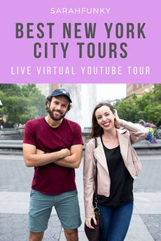 If you are dying to visit New York City and don't want to have to completely put it off for the next year or more, then take one of my virtual live NYC tours on YouTube! They are free and allow you to tour New York City from the comfort and safety of your own home. Find out more about which tours we are offering virtually and when the next ones are in this post. | SarahFunky #virtualtours #nyc #nyctours New York City Tours, Visit New York City, Nyc, Live, Youtube, Youtubers, New York City, Youtube Movies