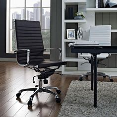 The Classic High Back Office Chair | The Classic High Back is a modern classic design that is famous across the world. This contemporary design is seen on many modern talk shows, professional conference rooms, executive offices, and movies. Made with a leatherette seat and back, chrome five star base, and casters | Free Shipping @ Sleek Modern Furniture!