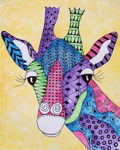 zentangle animals | Original Zentangle Doodle 11 x 14 Watercolor Giraffe Zoo Jungle Animal ...