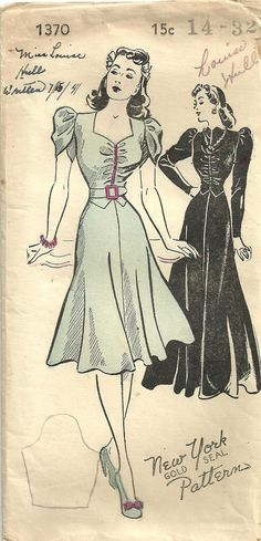 Vintage New York Sewing Pattern 1370 Forties by studioGpatterns, $28.50