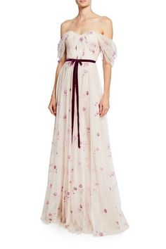Shop Off-the-Shoulder Draped Bodice Netted Tulle Gown with Embroidery from Marchesa Notte at Neiman Marcus Last Call, where you'll save as much as on designer fashions. Jeanne Lanvin, Halter Gown, Strapless Gown, Tulle Ball Gown, Ball Gowns, Balenciaga, Bridesmaid Dresses, Wedding Dresses, Evening Gowns