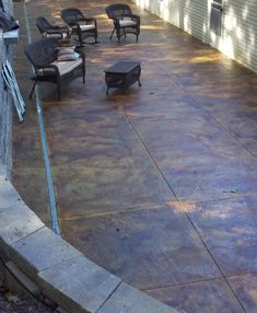 Concrete Acid Stained Patio - Malayan Buff and Coffee Brown Acid Stains with Sprayable Satin Finish Sealer from DirectColors.com