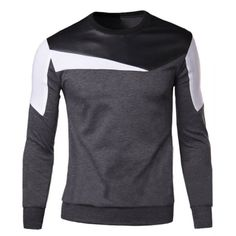 Wholesale Modish Round Neck Color Block Fabric Splicing Slimming Long Sleeve Cotton Blend Sweatshirt For Men Drop Shipping |