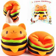 Sanqi Elan Squishys Cat Burger Slow Rising Soft Animal Collection Gift Decor Toy Original Packaging