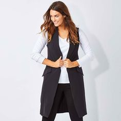 "An easy throw on over a long sleeve top, it hides your waist hips and bottom, giving you a lean silhouette that's exceptionally flattering. It's such an elegant shape we think it will become your go to autumn piece for desk to date! ""Belle Sleeveless Jacket"" by #BelleBird available at birdsnest.com.au @iamlaurawells"