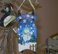 painted snowmen | WOODEN SLED AND SNOWMAN CHRISTMAS ORNAMENT HAND PAINTED HOLIDAY DECOR ...