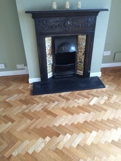 Oak herringbone parquet finished with Hardwax oil.