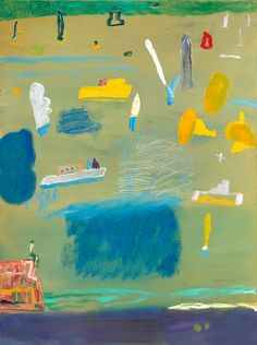 Boats and yellow freesias by Ken Done, 2014, oil on linen, 122 x 91cm