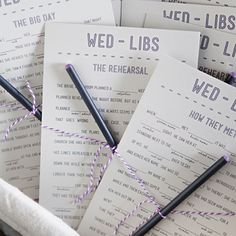 Are you in search of a fun and silly way to entertain your wedding guests? Then look no further than this simple DIY… wedding Mad-Libs, or Wed-libs are a light hearted and easy game perfect for any type wedding event!