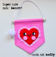 Little heart mini wall banner Banner Pennant by NoodledollNelly