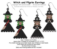 Witch and Pilgrim Earrings | Bead-Patterns.com
