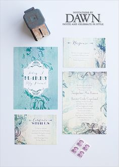 vintage style wedding invites from @Invitations by Dawn