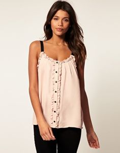 Cami With Ruffle And Button Front